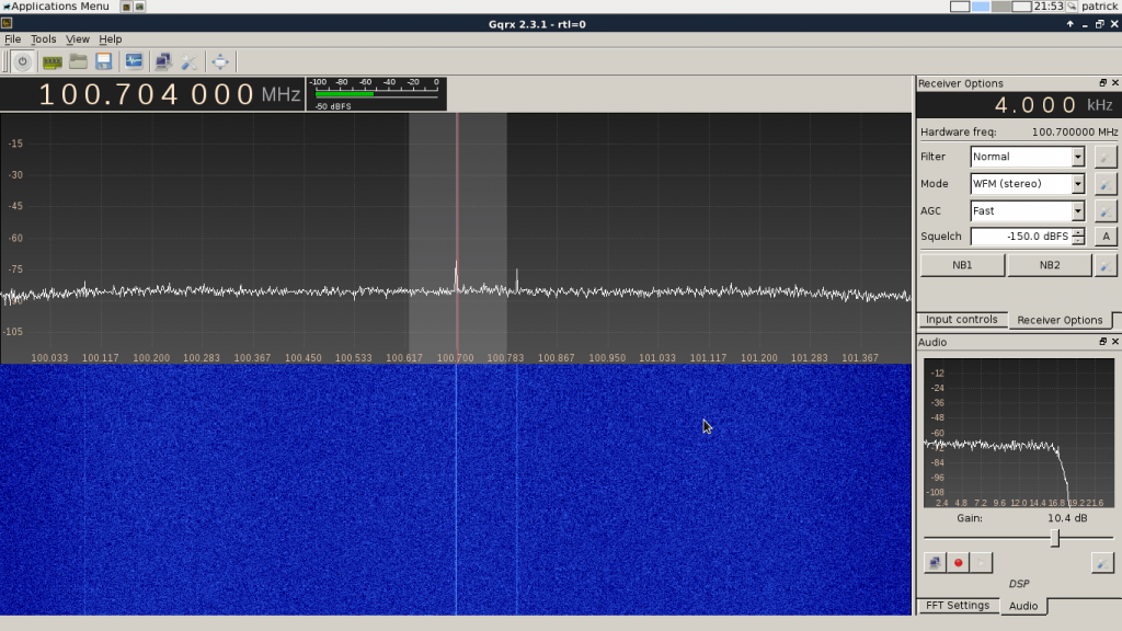 gqrx interface.